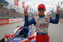 Takuma Sato celebrates after finishing second