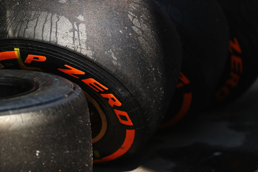 Used Pirelli tyres in the paddock