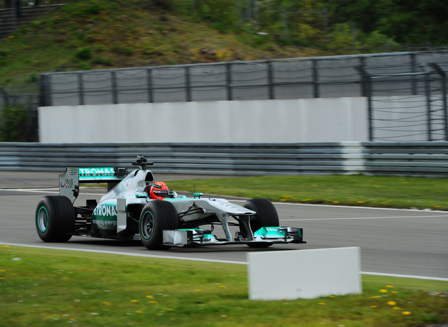 Michael Schumacher takes on the Nurburgring Nordschleife in a Mercedes F1 car