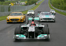Michael Schumacher completes a demonstration run for Mercedes on the Nurburgring Nordschleife