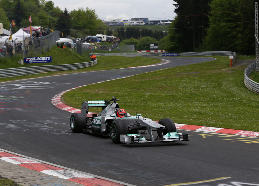 Michael Schumacher tackles the Nurburgring Nordschleife in a Mercedes F1 car