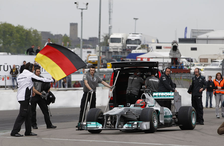Michael Schumacher starts his demonstration lap of the Nurburgring Nordschleife in a Mercedes F1 car