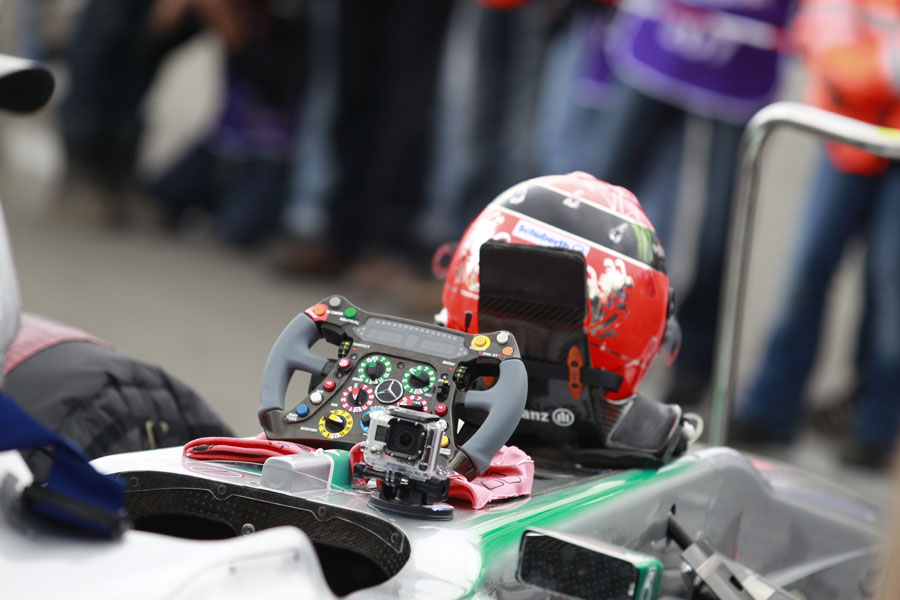 Michael Schumacher's helmet and steering wheel ready for his demonstration lap of the Nurburgring Nordschleife