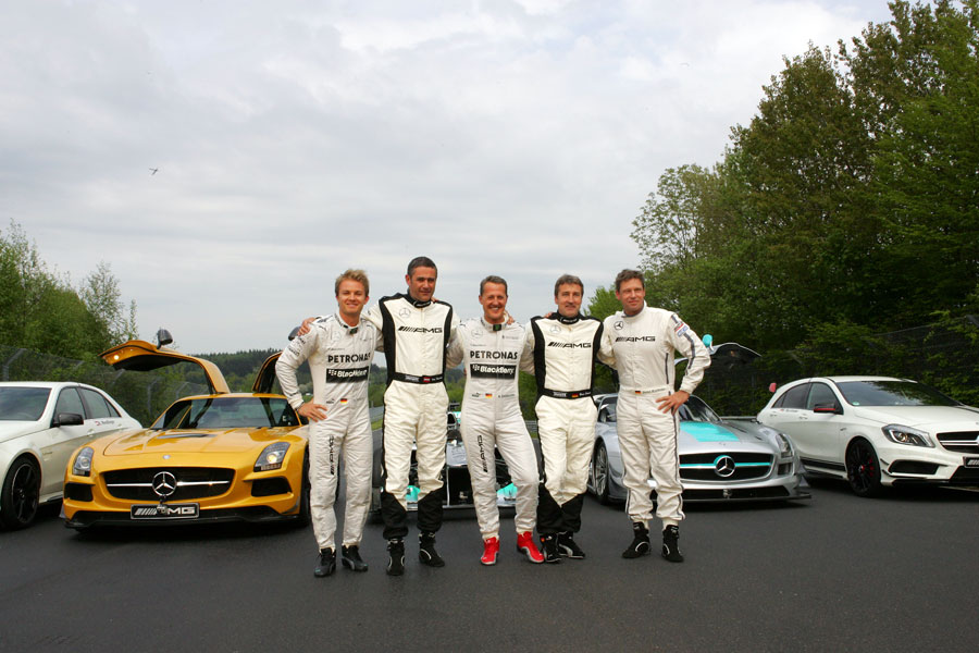 Michael Schumacher, Nico Rosberg, Bernd Schneider, Bernd Mayländer and Karl Wendlinger pose for a photo
