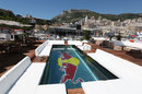 The swimming pool on top of the Red Bull floating motorhome