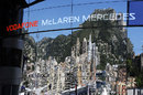 The Monaco skyline is reflected in the McLaren hospitality unit