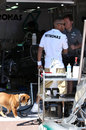 Lewis Hamilton gives his dog Roscoe a tour of the Mercedes garage