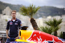 Sebastian Vettel on top of the Red Bull motorhome
