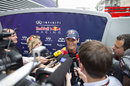 Mark Webber faces the press in the Monaco paddock