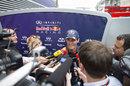 Mark Webber faces the press in the Monaco paddock