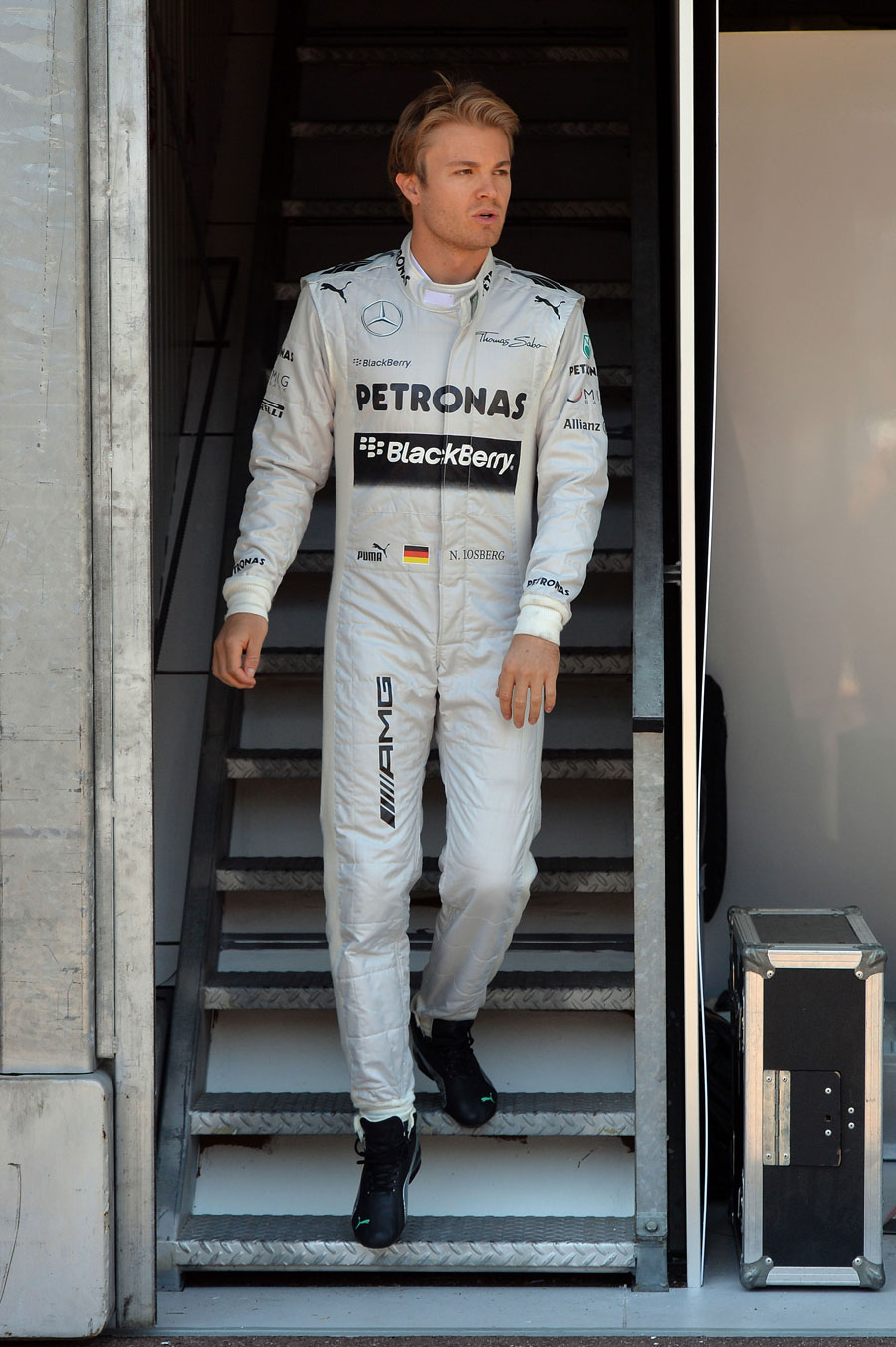 Nico Rosberg leaves the Mercedes garage