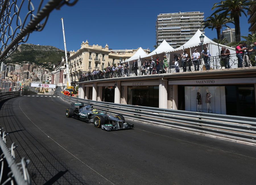 Nico Rosberg crests the hill towards Casino Square