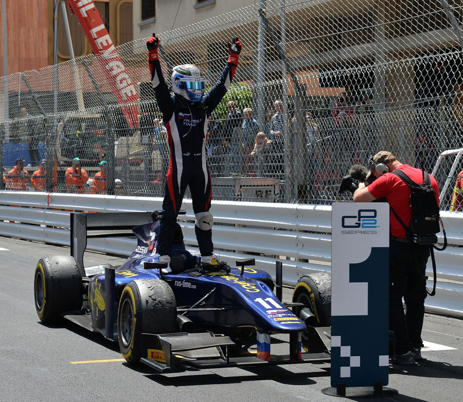 Sam Bird celebrates his feature race victory