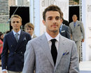 Marussia drivers Jules Bianchi and Max Chilton take part in the Amber Lounge fashion show