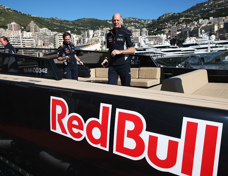 Christian Horner and Adrian Newey arrive in the paddock on Sunday morning