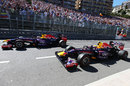 Sebastian Vettel and Mark Webber salute the fans at the end of the race