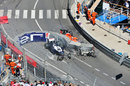 Jules Bianchi hits the wreckage after Pastor Maldonado's collision with Max Chilton