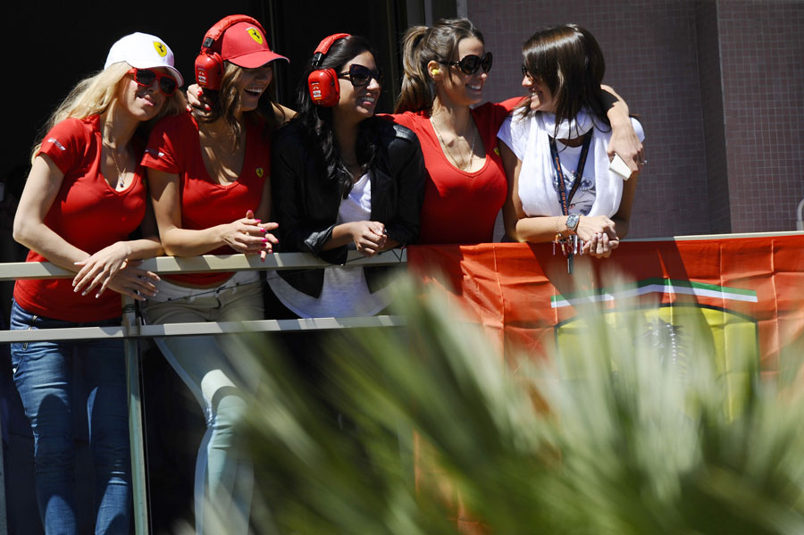 Ferrari fans watch the race