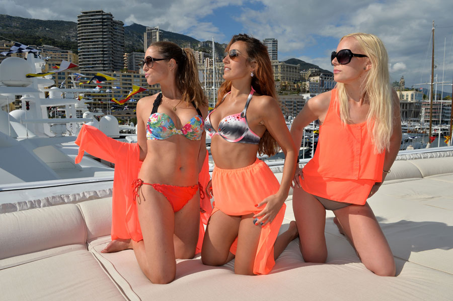Girls enjoy the weekend on a yacht