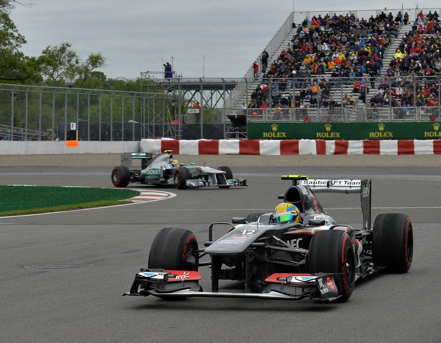 Esteban Gutierrez leads Lewis Hamilton