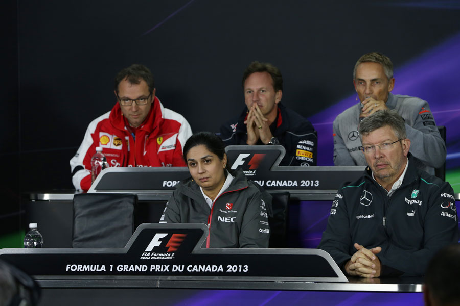 The FIA press conference with Pirelli's Paul Hembery absent
