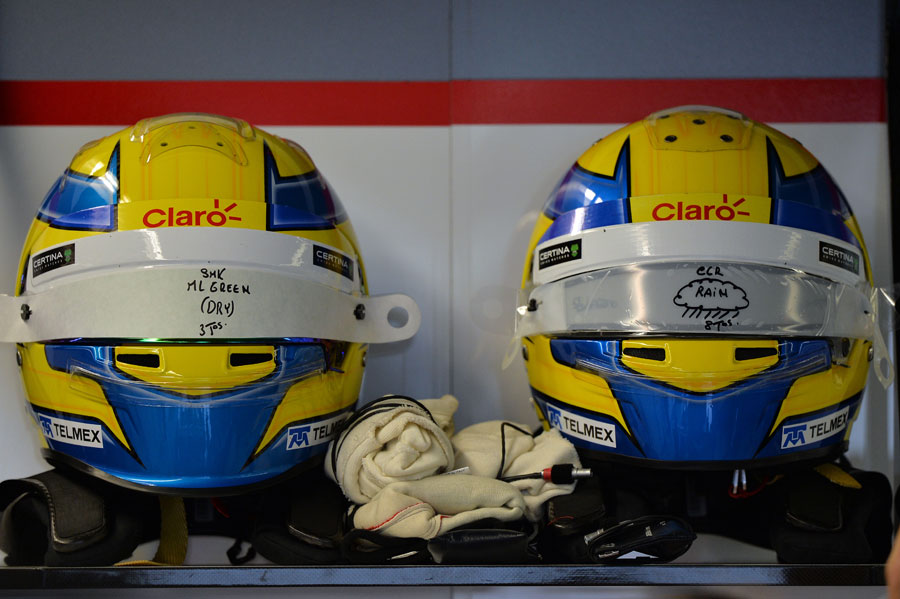 Esteban Gutierrez's different helmets for dry and wet weather
