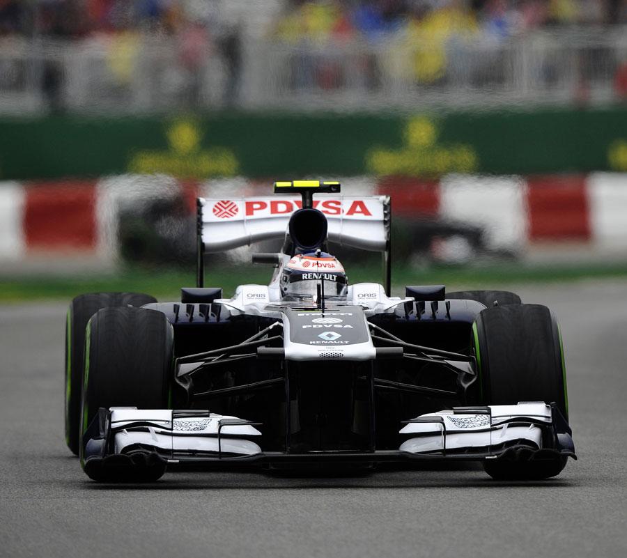 Valtteri Bottas on the intermediate tyres