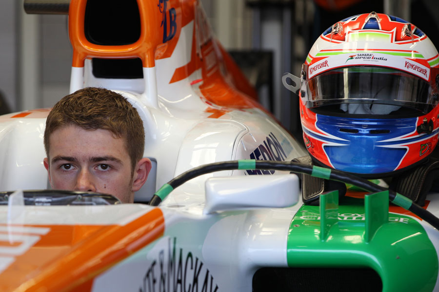 Paul di Resta sits in the cockpit of his Force India