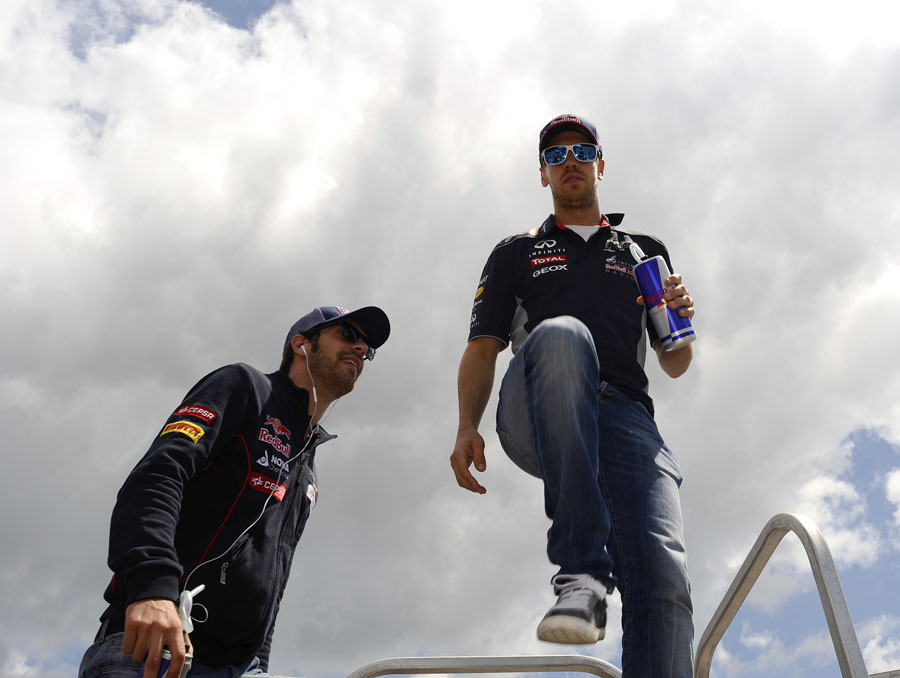 Sebastian Vettel and Jean-Eric Vergne ahead of the driver parade
