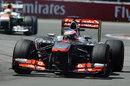 Jenson Button attacks the chicane