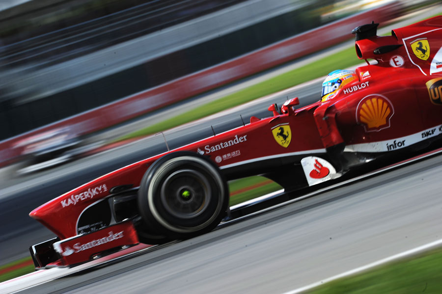 Fernando Alonso on track in the Ferrari