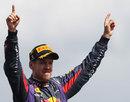Sebastian Vettel celebrates on the podium