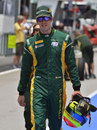 Sergio Canamasas walks down the pit lane