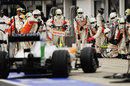 Adrian Sutil makes a pit stop