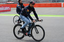 Daniel Ricciardo cycles the circuit on Thursday
