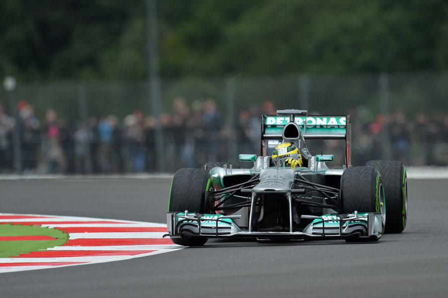 Nico Rosberg tackles Becketts on intermediate tyres