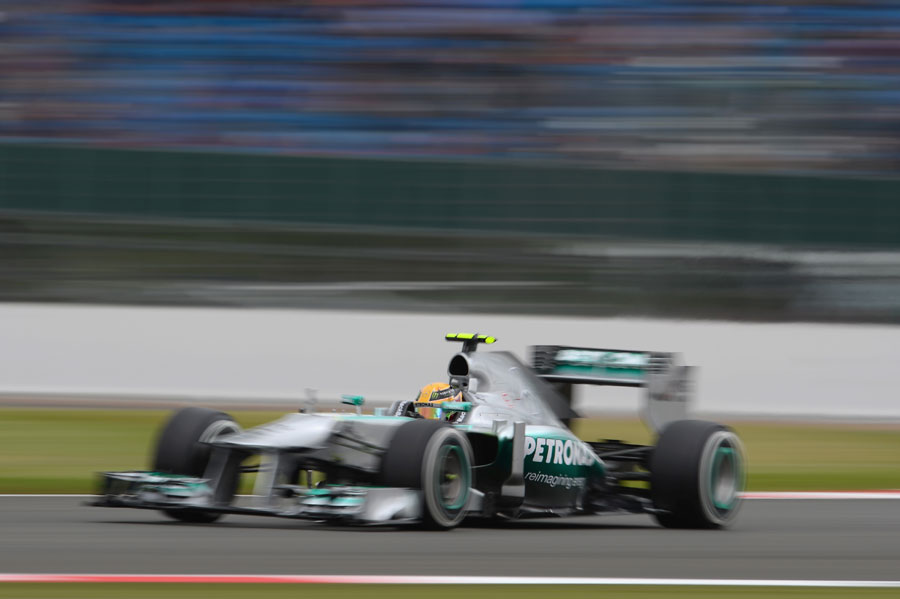 Lewis Hamilton at speed on medium tyres