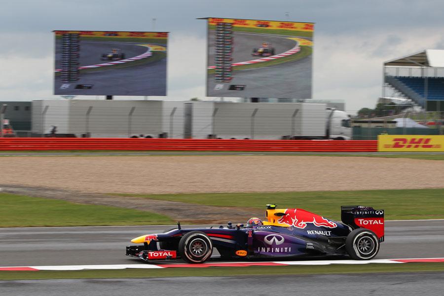 Mark Webber at speed on medium tyres