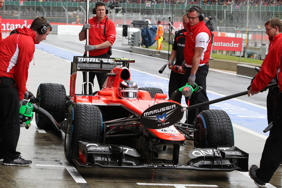 Max Chilton hits his marks for a pit stop on wet tyres