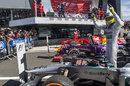 Nico Rosberg celebrates on top of his Mercedes