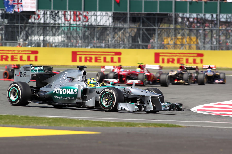 Nico Rosberg leads the pack at Silverstone