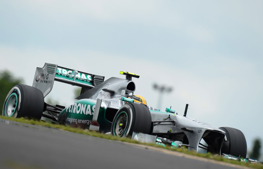 Lewis Hamilton on track during Friday practice