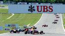 Sebastian Vettel leads Mark Webber on the opening lap