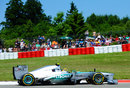 Lewis Hamilton on soft tyres early in the race