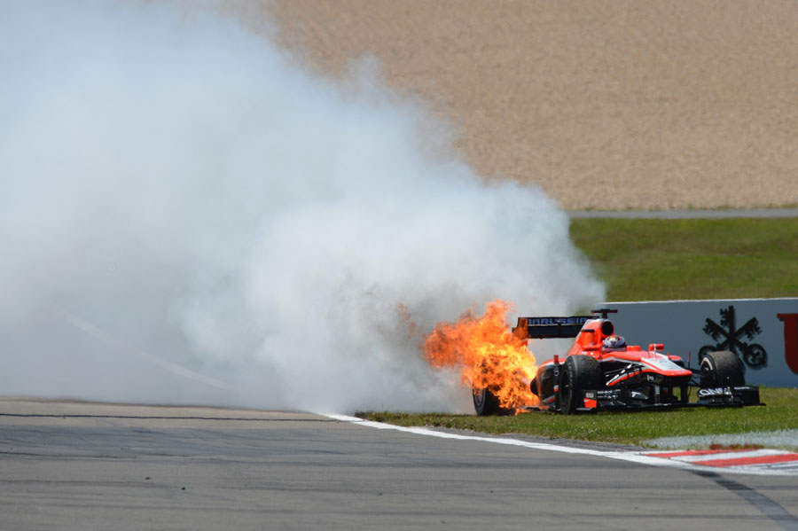 Jules Bianchi retires with a spectacular engine failure