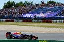 Sebastian Vettel leads early in the race