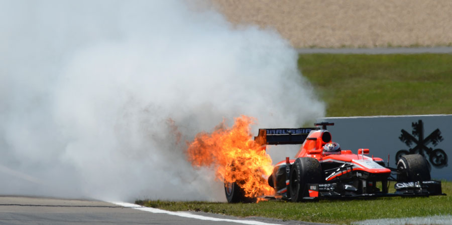 Jules Bianchi's Marussia retires in flames