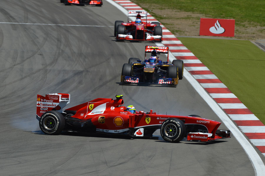 Felipe Massa spins out of the race