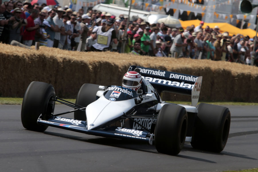Nelson Piquet drives a Brabham BT52 up the hill