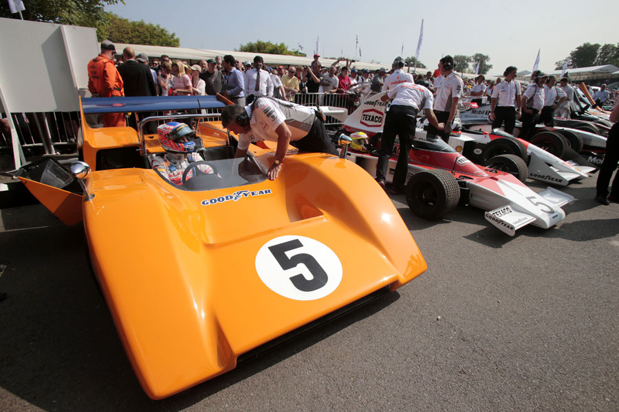 Jenson Button pre to drive the McLaren M8